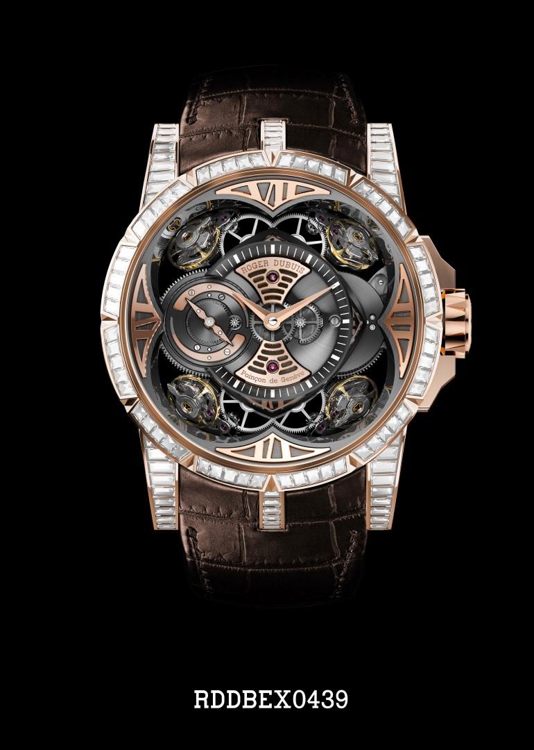 Roger Dubuis Excalibur Quator oro rosa y diamantes engastados
