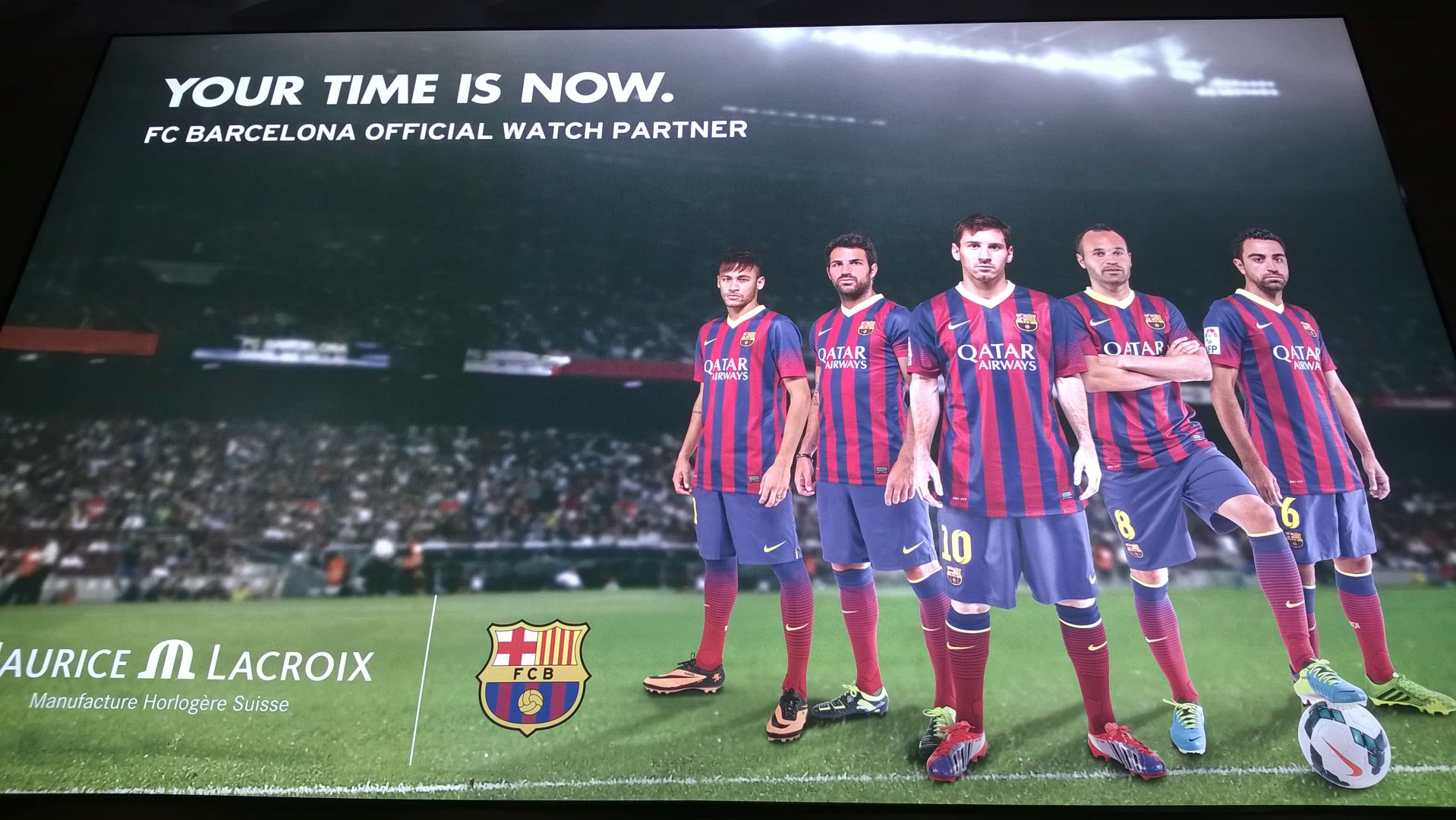 Cartel Maurice Lacroix F C Barcelona en Baselworld 2014