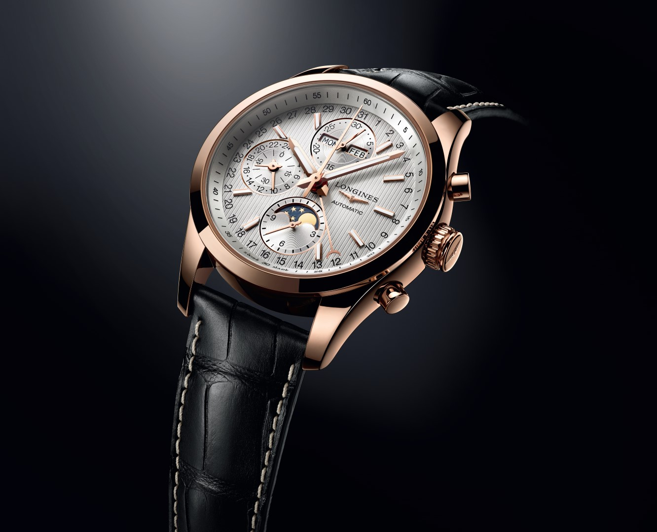 Longines Conquest Classic Moonphase en oro rosa