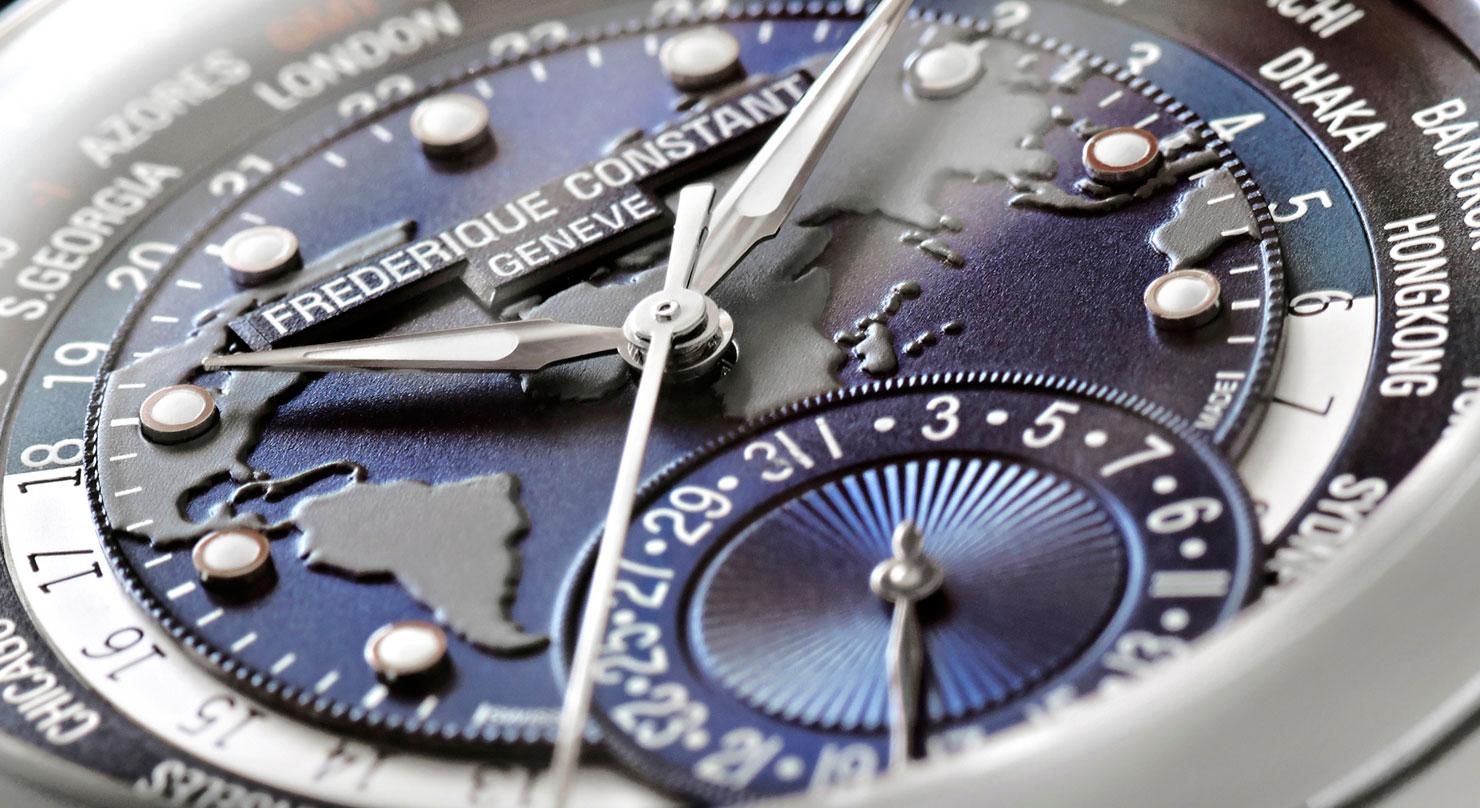 Frederique Constant World Timer Manufacture - detalle de la esfera