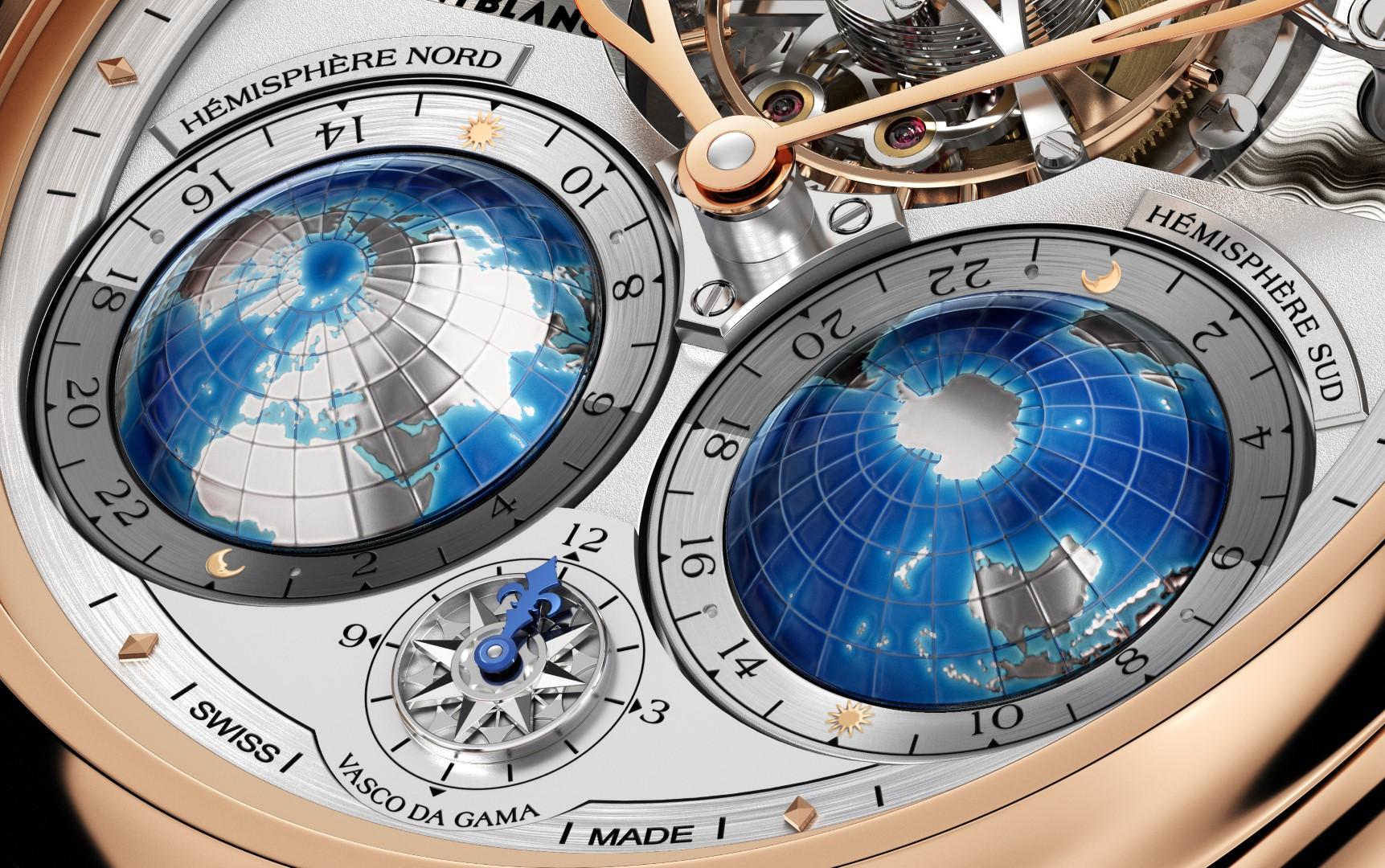 Montblanc Collection Villeret Tourbillon Cylindrique Geosphères Vasco da Gama - detalle de las esferas