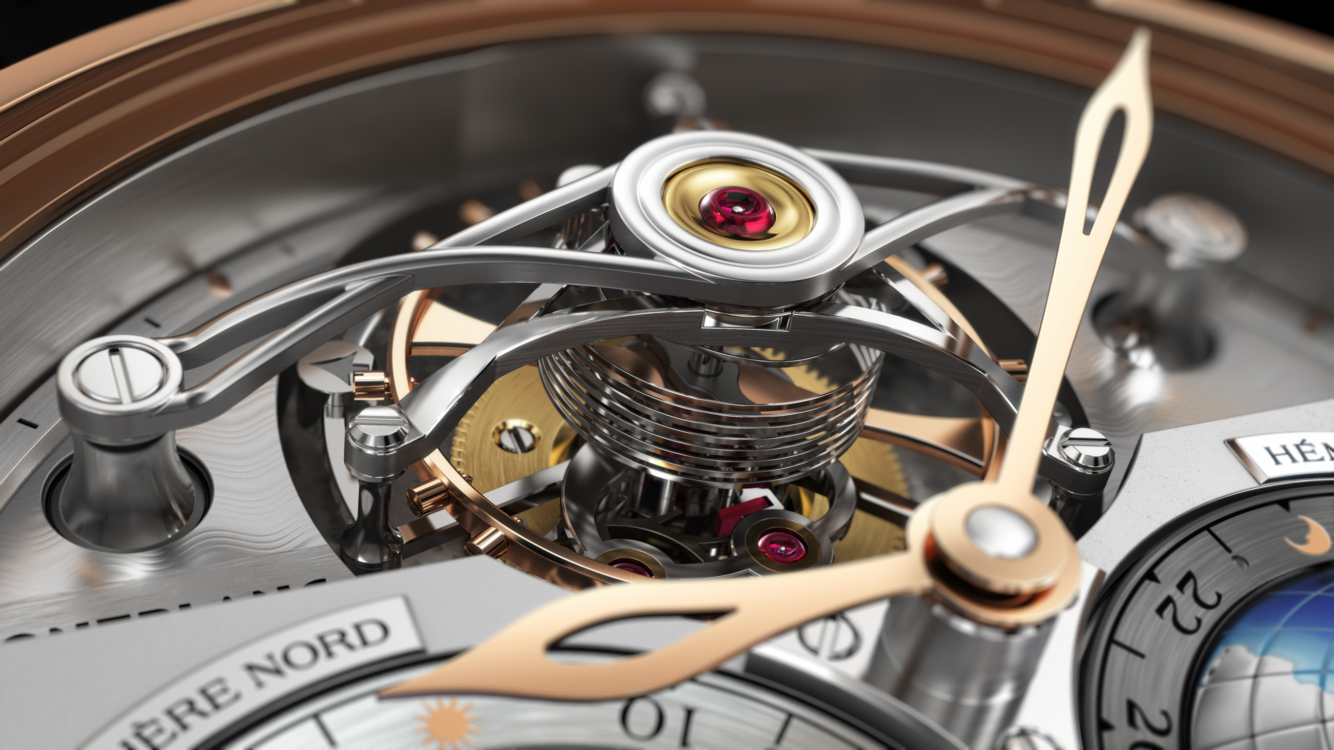 Montblanc Collection Villeret Tourbillon Cylindrique Geosphères Vasco da Gama detalle del tourbillon