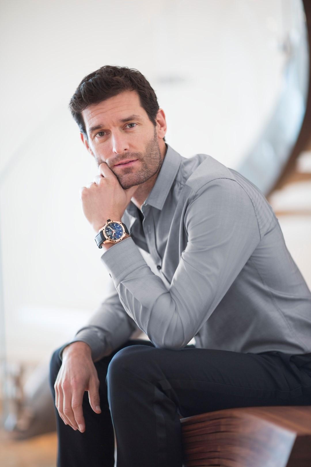 Mark Webber llevando el Superfast Chrono en oro rosa®JohannSauty-Chopard