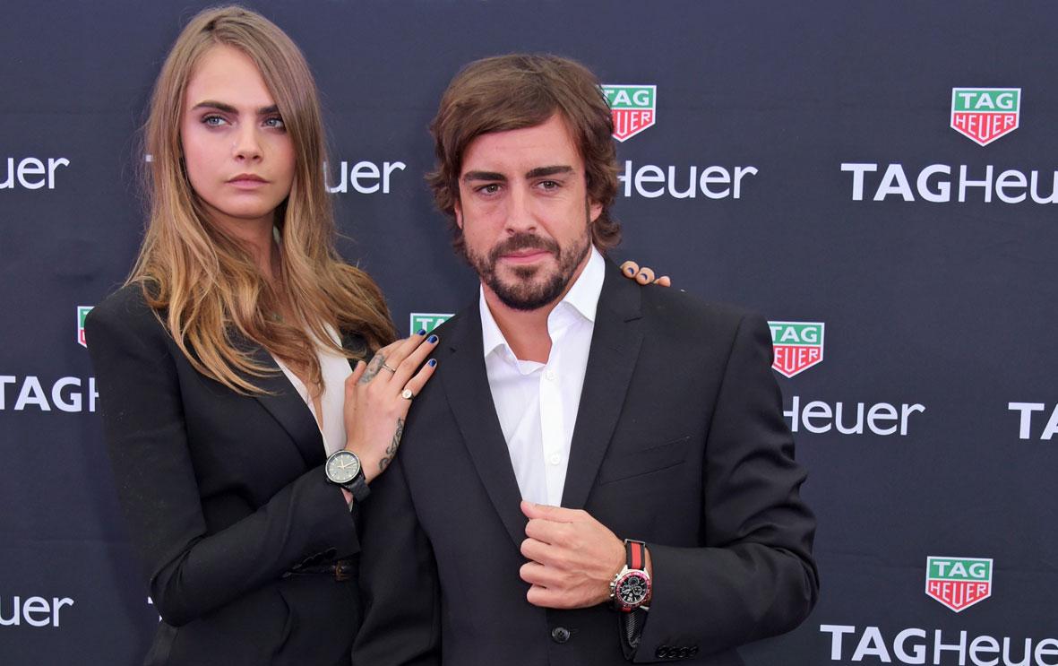 Cara Delevingne y Fernando Alonso con TAG Heuer