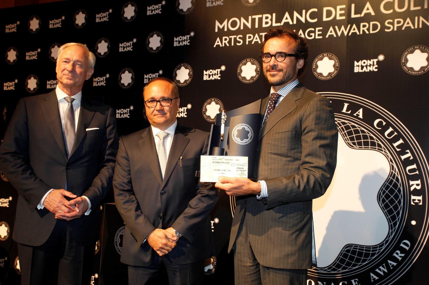 Lutz Betghe,presidente de la Fundación Montblanc de la Culture, Francesc Carmona, director general Montblanc Iberia y Sergi Ferrer-Salat