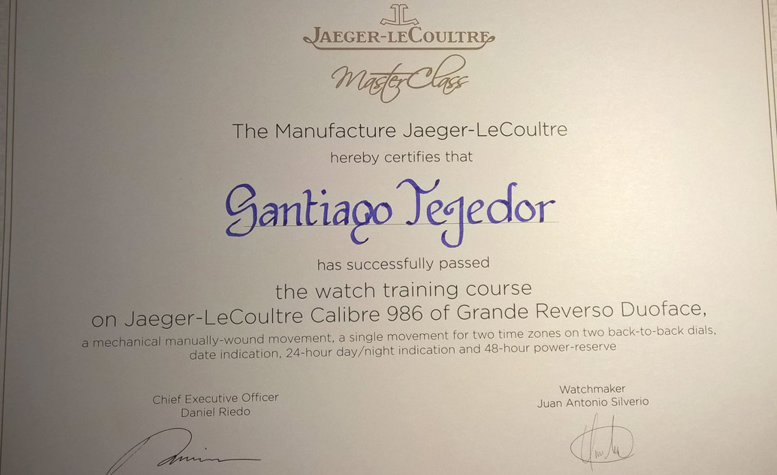 SIAR 2015 - diploma de la Master Class de Jaeger-LeCoultre