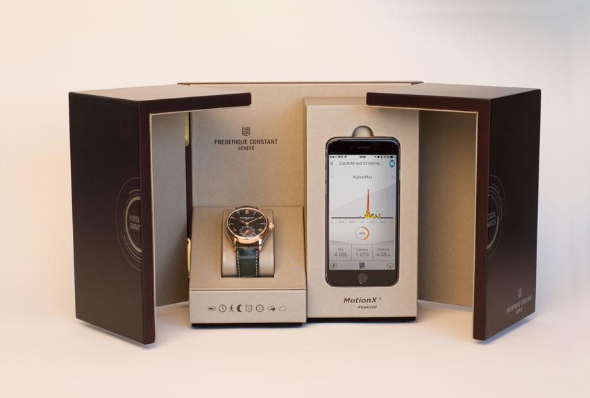 Frederique Constant Only Watch con iPhone en estuche