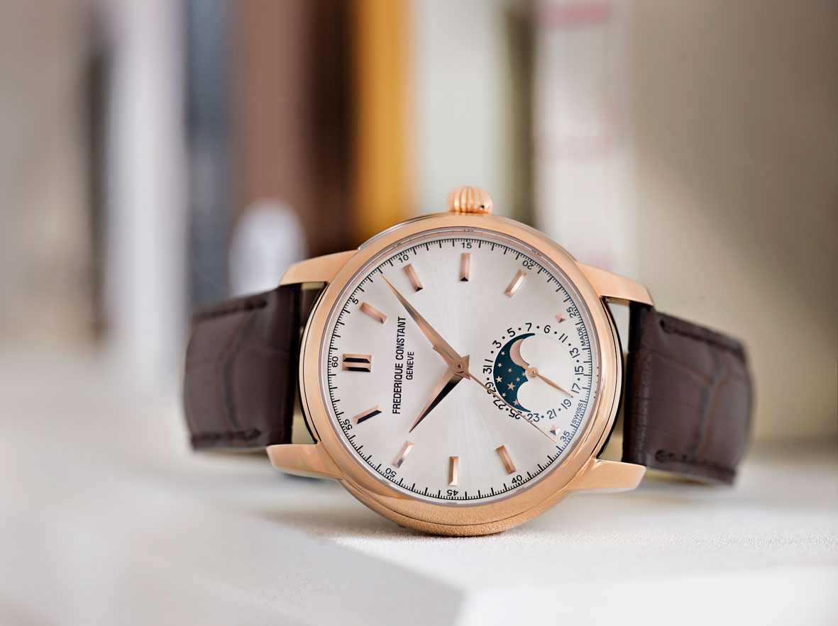 Frederique Constant Classic Manufacture Moonphase oro rosa frontal