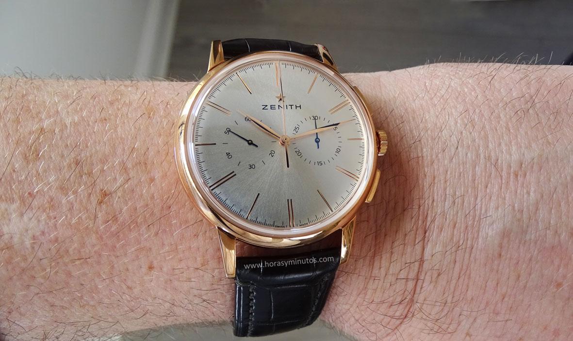 Zenith Elite Chronograph Classic oro rosa en la muñeca 2