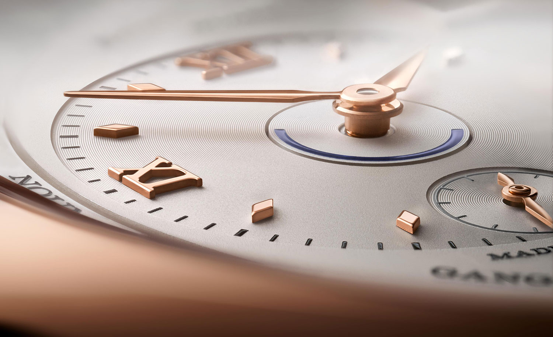 detalle de la esfera de la hora en destino del Lange 1 Time Zone