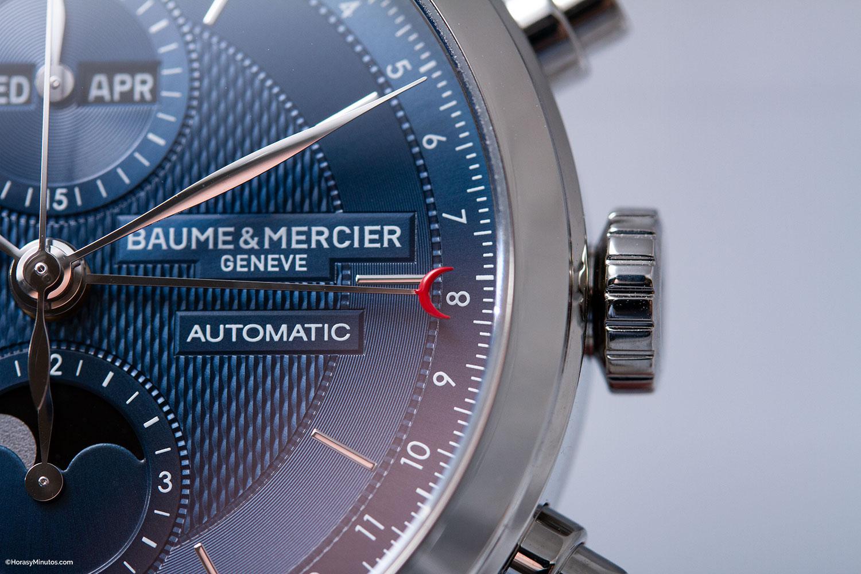 Detalle de la aguja de fecha del Baume & Mercier Classima Cronógrafo y Calendario Completo
