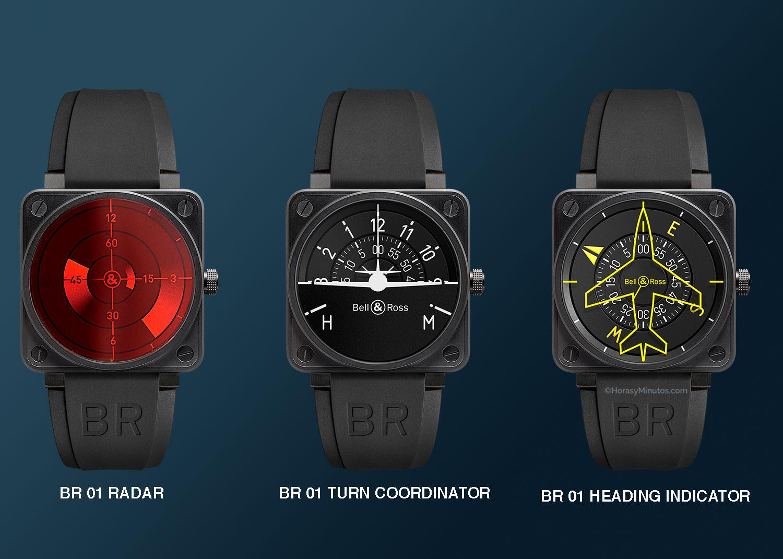 Bell & Ross BR 01 Radar, BR 01 Turn Coordinator y BR 01 Heading Indicator