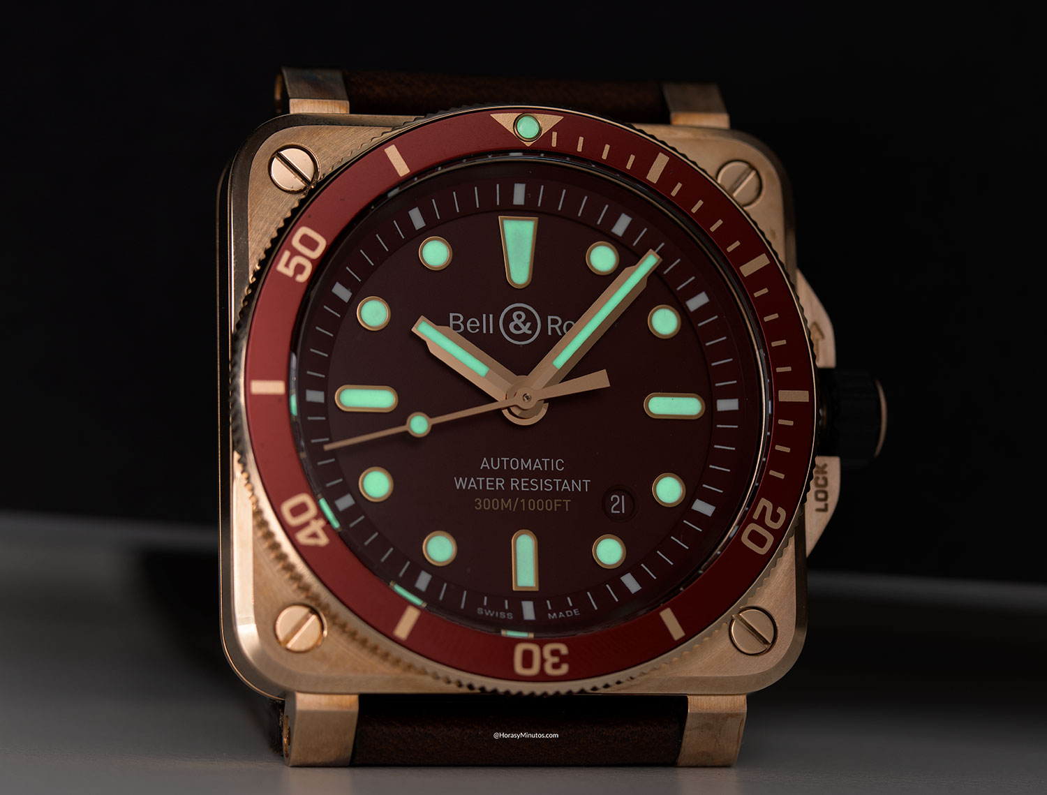 Super-LumiNova del Bell & Ross BR 03-92 Diver Red Bronze