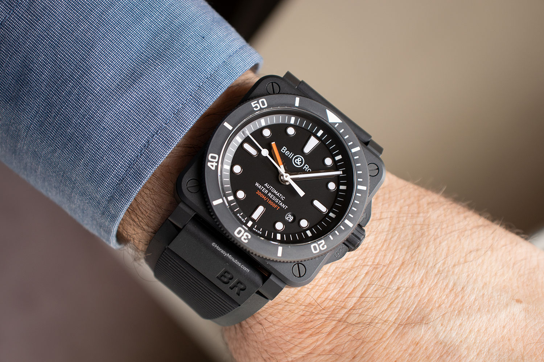 El Bell & Ross BR03-92 Diver Black Matte, puesto