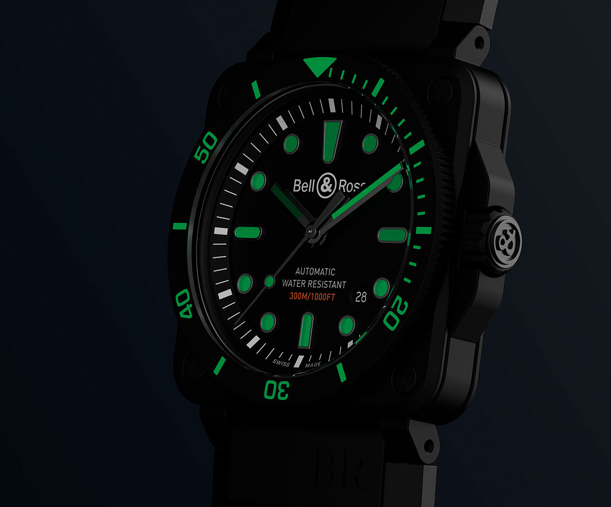 Super-LumiNova del Bell & Ross BR03-92 Diver Black Matte