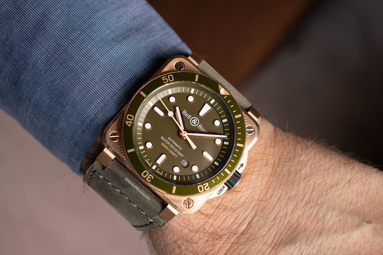Así queda el Bell & Ross BR03-92 Diver Green Bronze