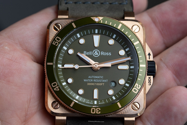 Esfera del Bell & Ross BR03-92 Diver Green Bronze