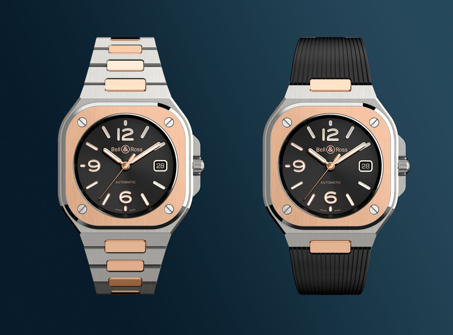 Los dos Bell & Ross BR05 Steel & Gold