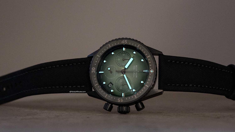 Tratamiento con Super-LumiNova del Blancpain Bathyscaphe Chronograph Flyback