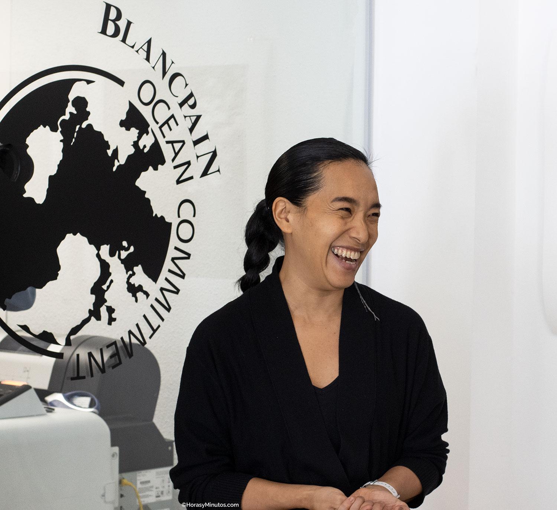 Blancpain Ocean Commitment y Ai Futaki durante la presentación
