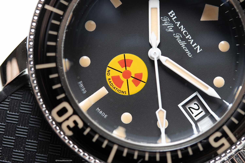 Detalle del símbolo del Blancpain Tribute to Fifty Fathoms No Rad