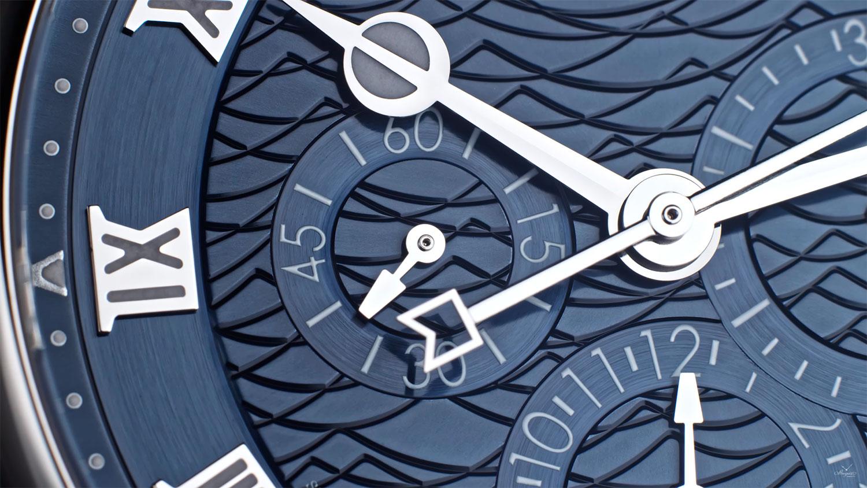 Detalle de la esfera del Breguet La Marine Chronographe