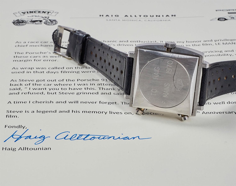 Trasera del Heuer Monaco de Steve McQueen con la carta de Haig Alltounian