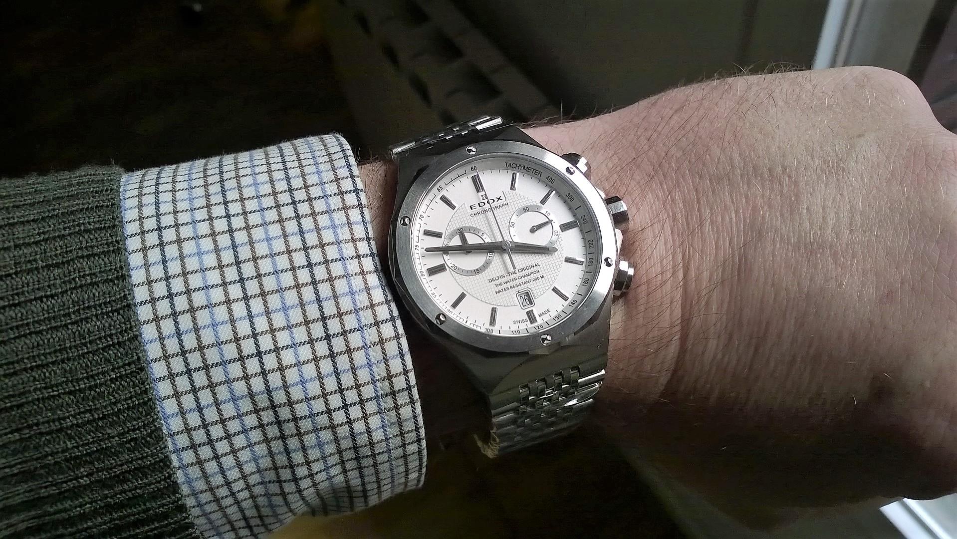 Edox Delfin chrono blanco