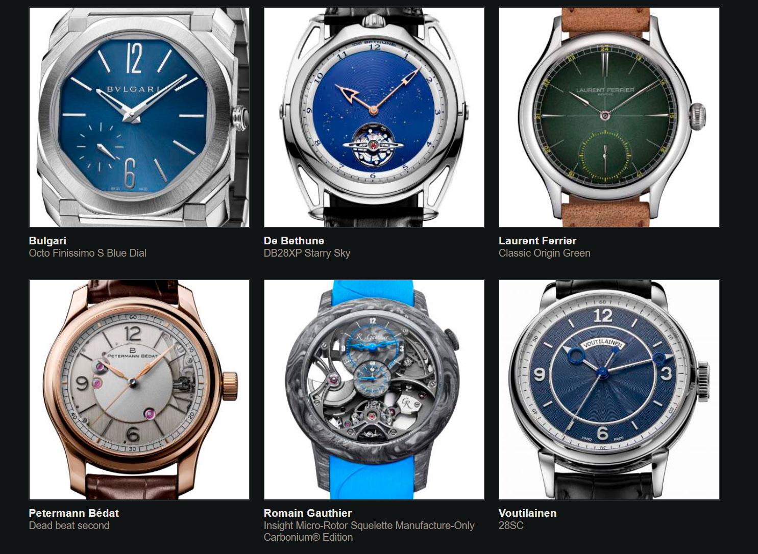 Finalistas del Gran Premio de Relojería de Ginebra 2020 Caballero
