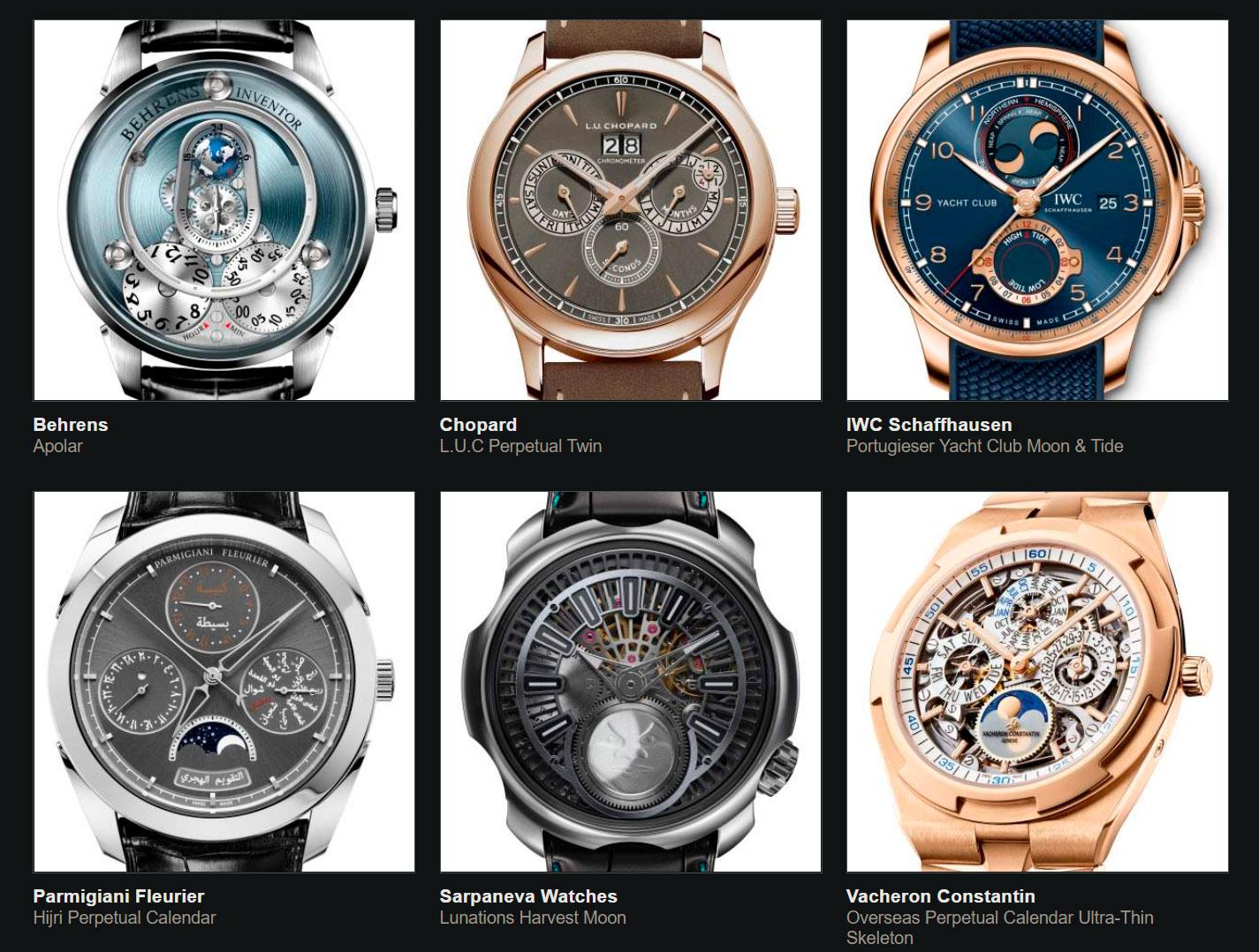 Finalistas del Gran Premio de Relojería de Ginebra 2020 Calendario