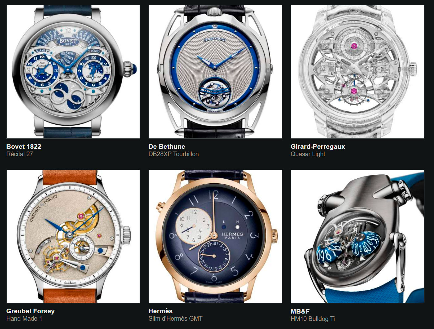 Finalistas del Gran Premio de Relojería de Ginebra 2020 Complicación Caballero