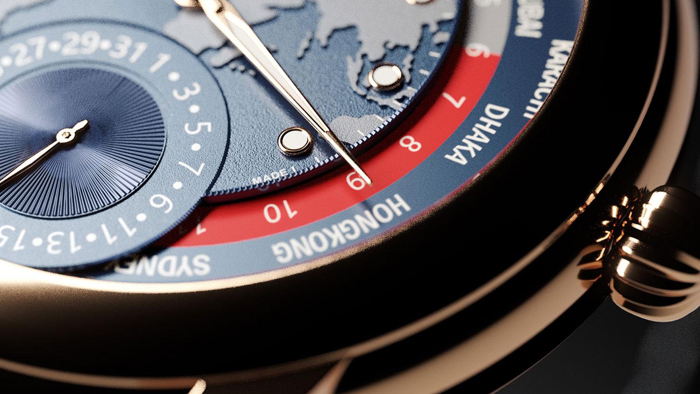 Detalle de la esfera del Frederique Constant Classic Worldtimer Manufacture Limited Edition