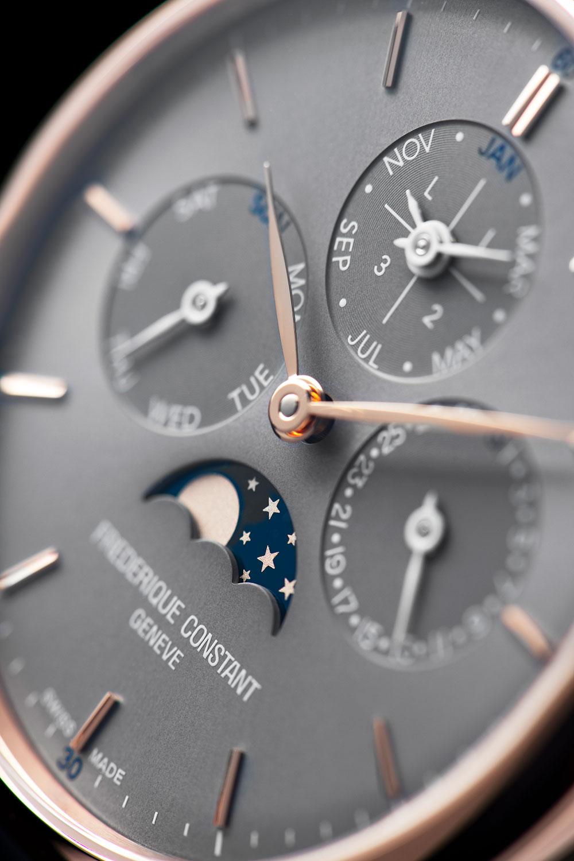 Detalle de la esfera del Frederique Constant Slimline Perpetual Calendar Manufacture