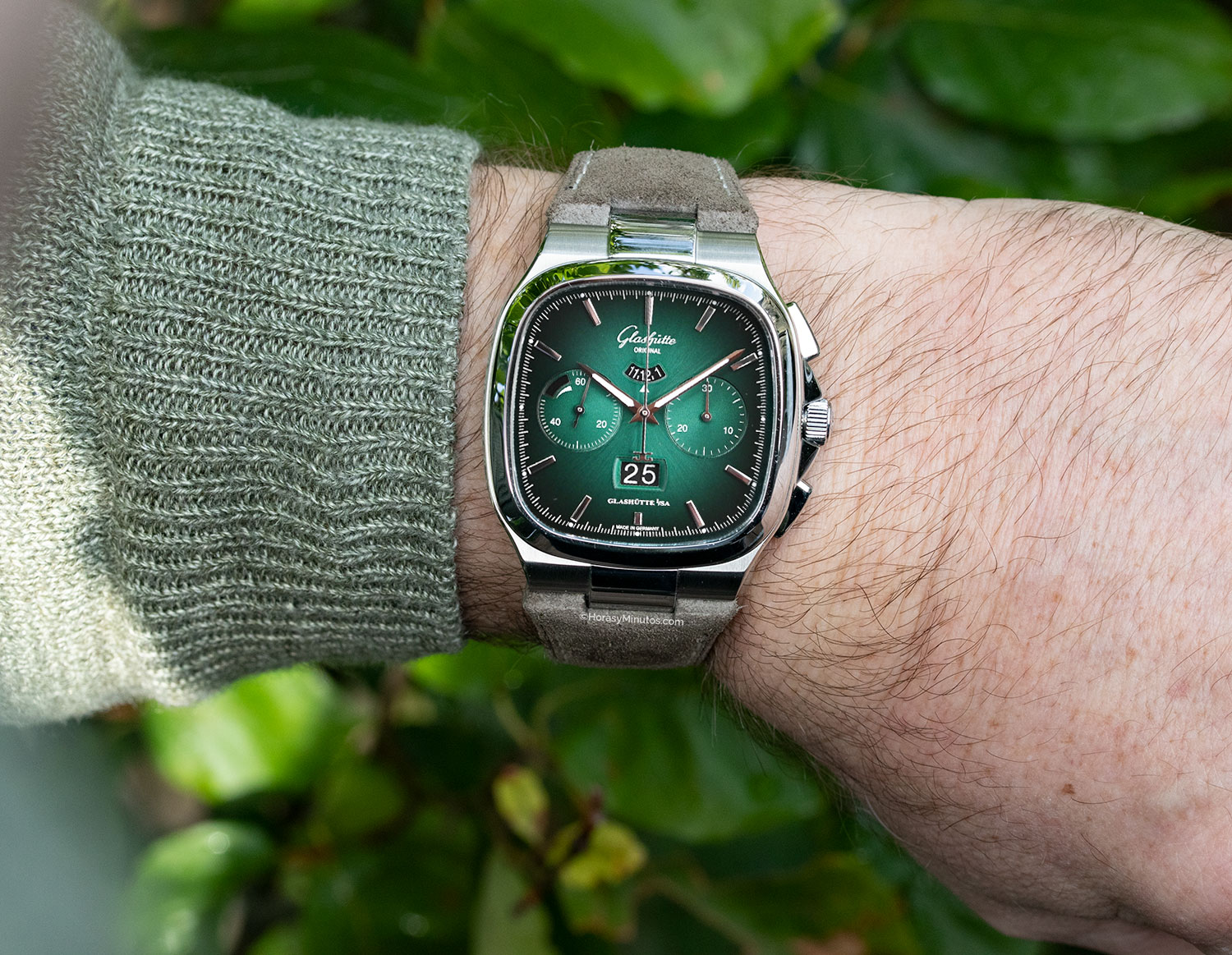 Glashütte Original Seventies Chronograph Panorama Date Limited Edition esfera verde