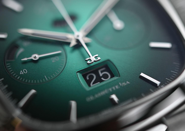 La Panorama Date del Glashütte Original Seventies Chronograph Panorama Date Limited Edition verde
