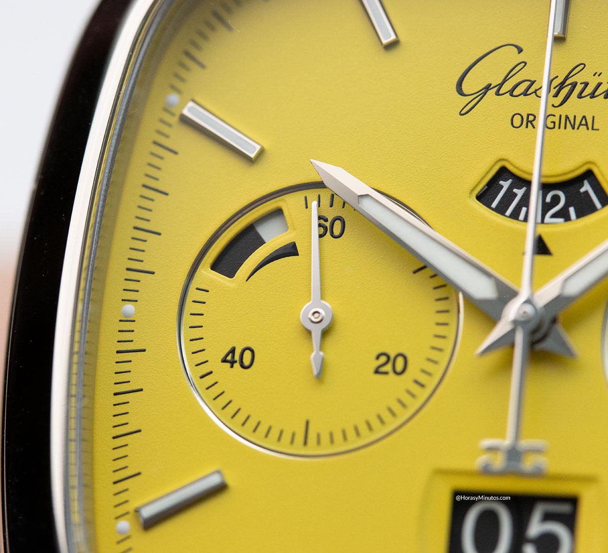 Indicador de reserva de marcha del Glashütte Original Seventies Chronograph Panorama Date