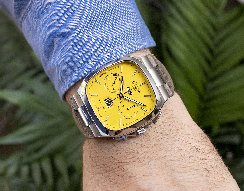 Así queda el Glashütte Original Seventies Chronograph Panorama Date amarillo