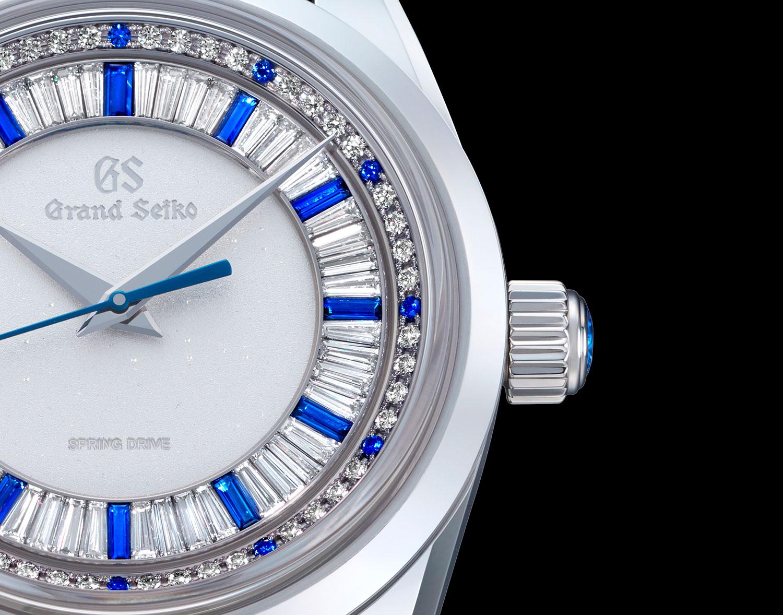 Detalle de la esfera del Grand Seiko Masterpiece Collection Spring Drive 8 Days Jewelry Watch SBGD205
