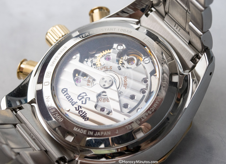 Calibre 9R86 del Grand Seiko Spring Drive Chronograph GMT 140th Anniversary SBGC240
