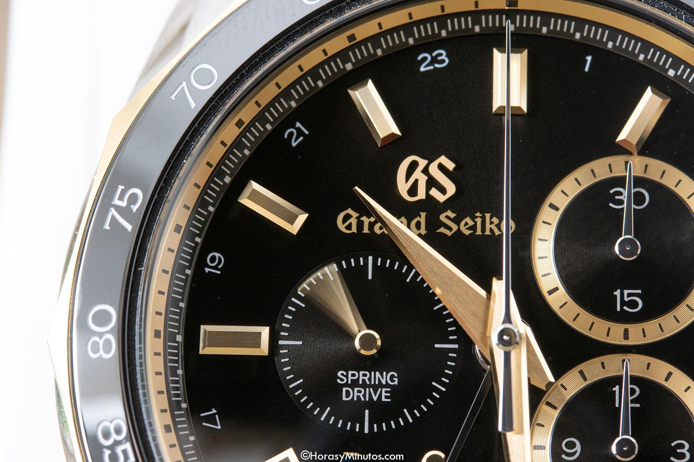 Detalle de la esfera del Grand Seiko Spring Drive Chronograph GMT 140th Anniversary