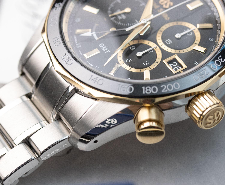 El brazalete del Grand Seiko Spring Drive Chronograph GMT 140th Anniversary SBGC240