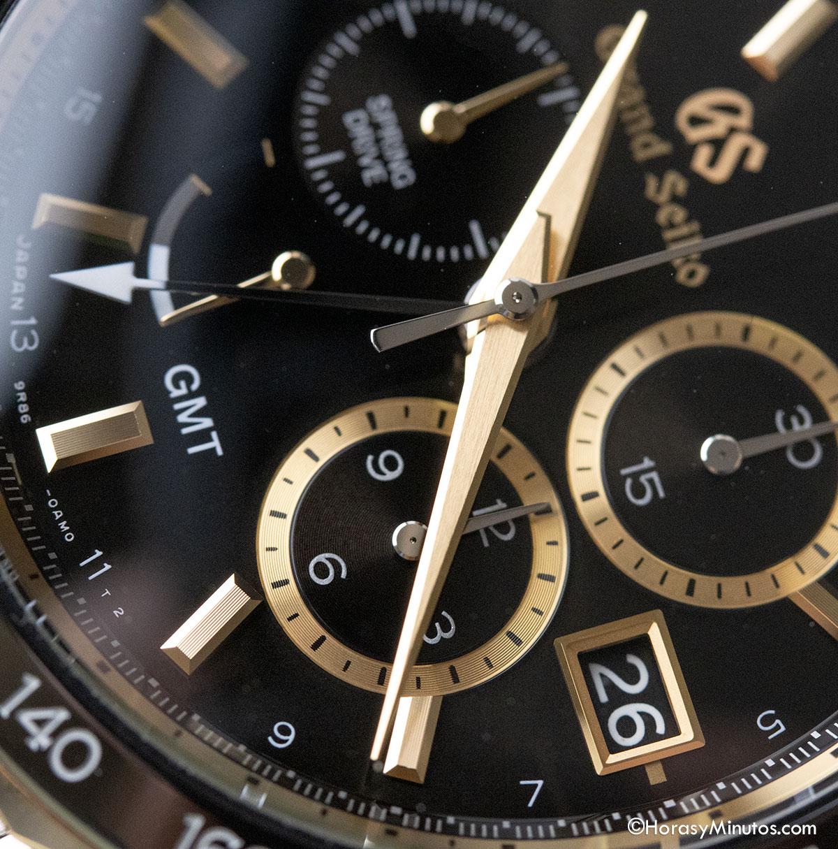 Las manecillas del Grand Seiko Spring Drive Chronograph GMT 140th Anniversary SBGC240