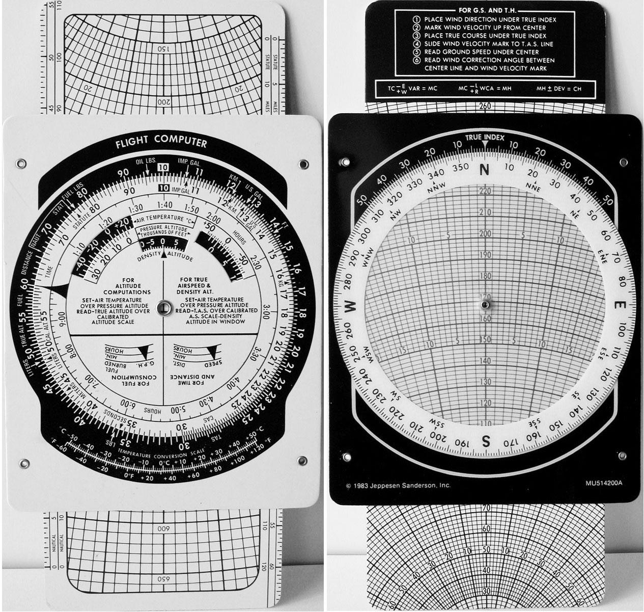 Hoja de cálculo de vuel E6B Whiz Wheel