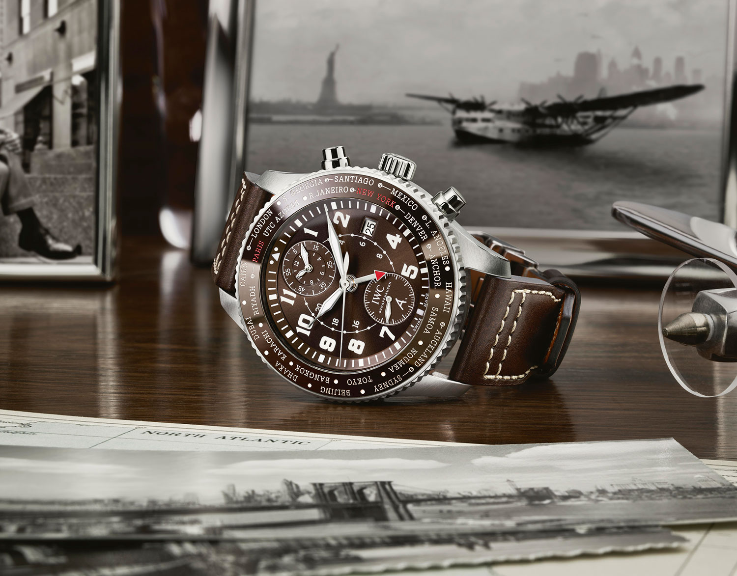 "IWC Pilot's Watch Timezoner Chronograph ""80 Years Flight To New York"""
