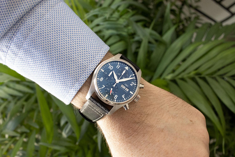 El IWC Pilot's Watch Chronograph 41 mm, puesto