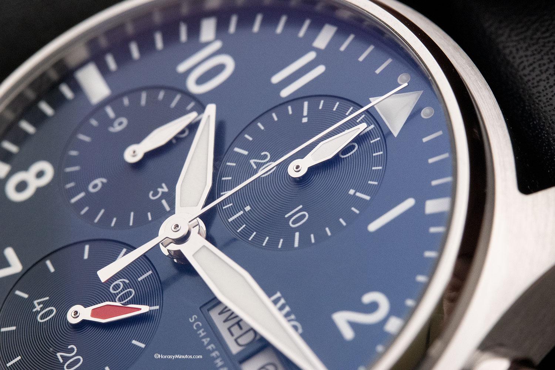 Detalle de la esfera del IWC Pilot's Watch Chronograph 41 mm