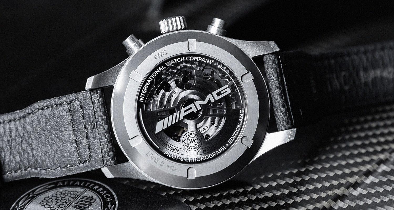 "Vista posterior del IWC Pilot's Watch Chronograph Edition ""AMG"""