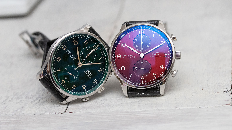 Los IWC Portugieser Chronograph verde y rojo, juntos