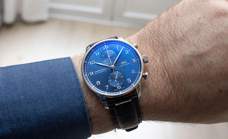 Así queda el IWC Portugieser Chronograph azul