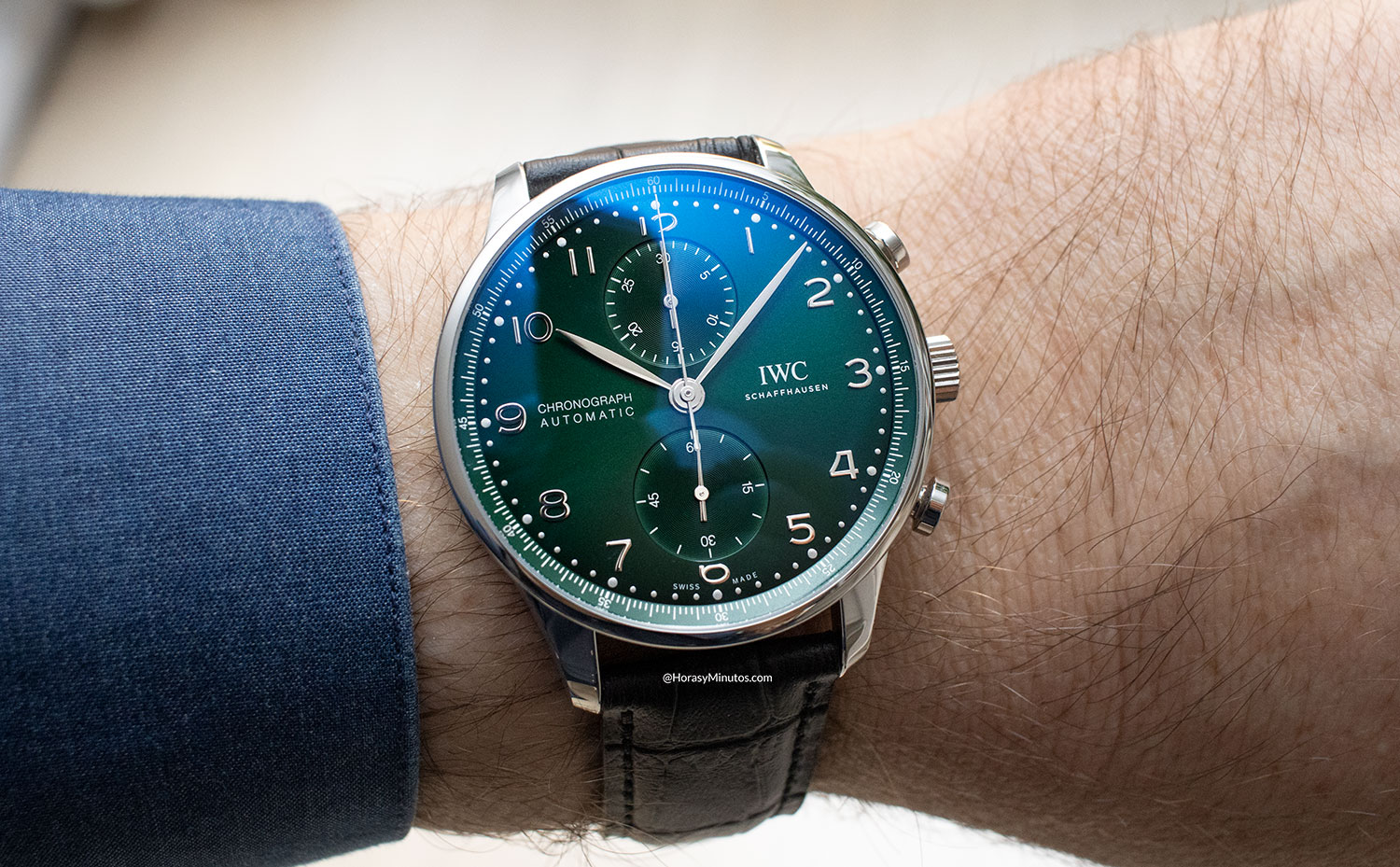 Frontal del IWC Portugieser Chronograph verde